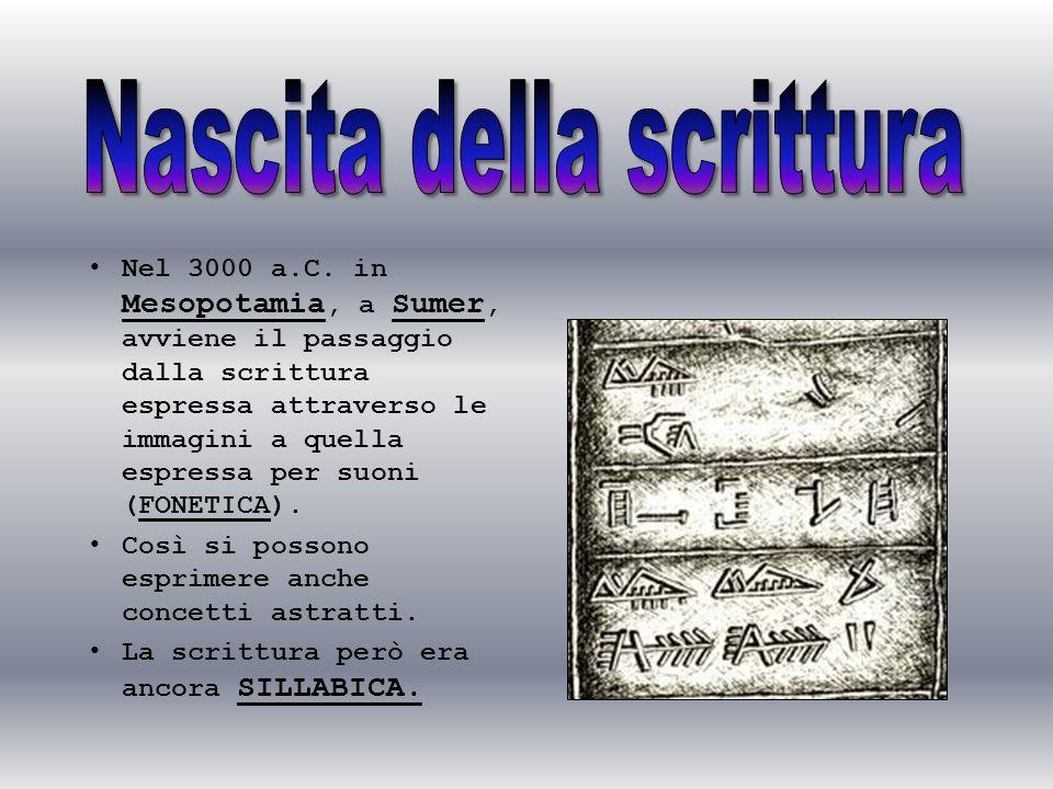 Nel 3000 a.C. in Mesopotamia, a Sumer, avviene il passaggio dalla scrittura espressa attraverso le immagini a quella espressa per suoni (FONETICA). Co