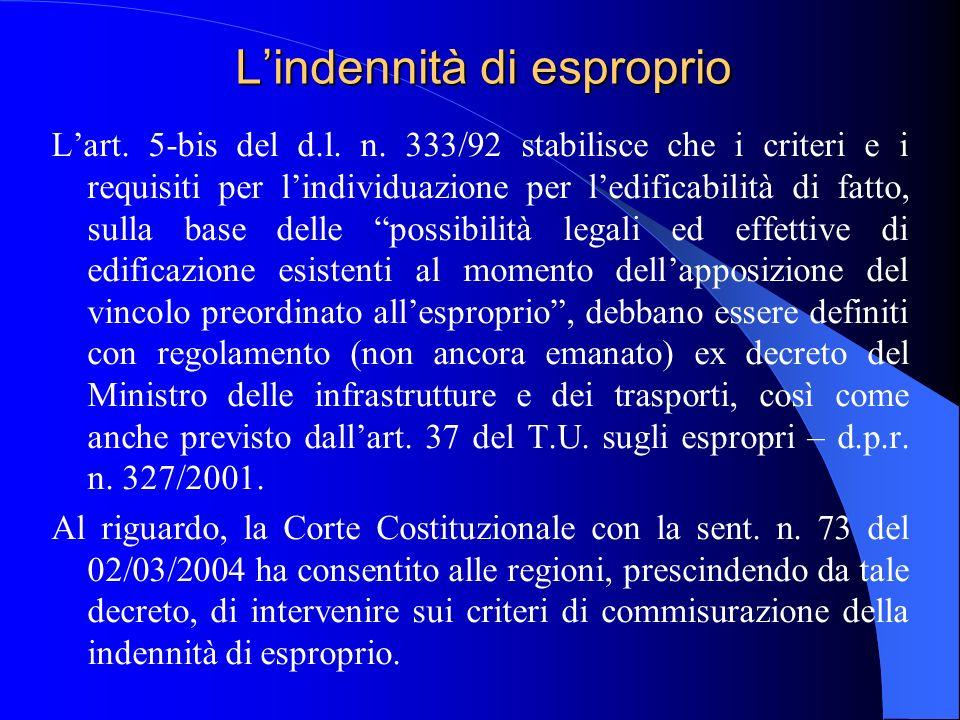 Lindennità di esproprio Lart. 5-bis del d.l. n.