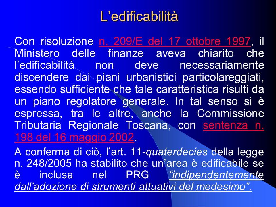 Ledificabilità Con risoluzione n. 209/E del 17 ottobre 1997, il Ministero delle finanze aveva chiarito che ledificabilità non deve necessariamente dis