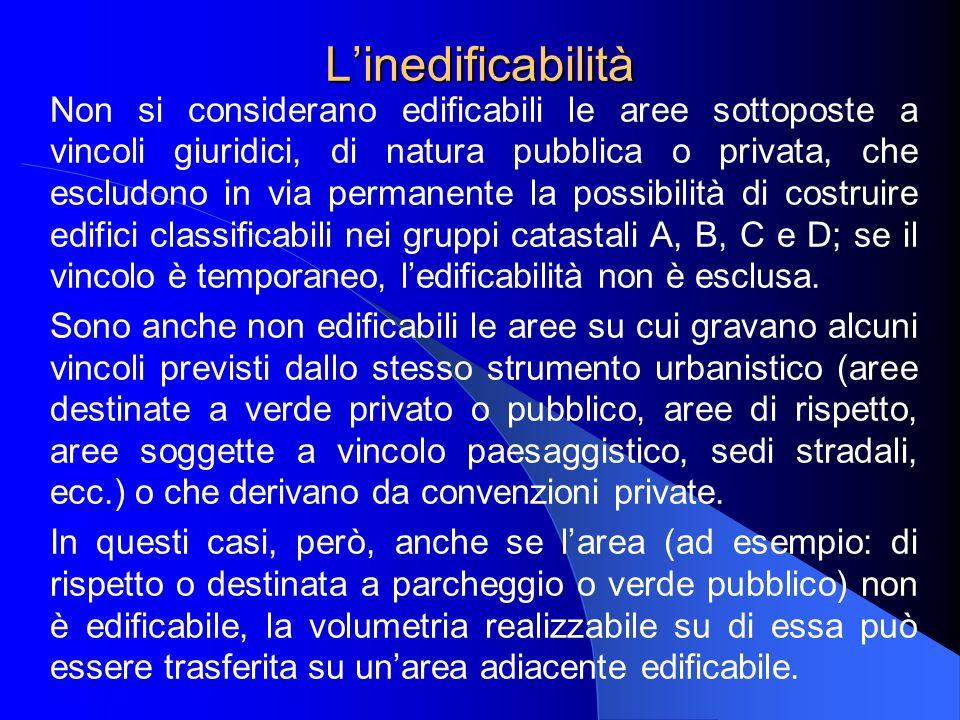 Linedificabilità Non si considerano edificabili le aree sottoposte a vincoli giuridici, di natura pubblica o privata, che escludono in via permanente