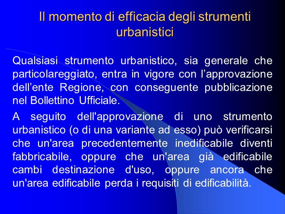 Il momento di efficacia degli strumenti urbanistici Qualsiasi strumento urbanistico, sia generale che particolareggiato, entra in vigore con lapprovazione dellente Regione, con conseguente pubblicazione nel Bollettino Ufficiale.