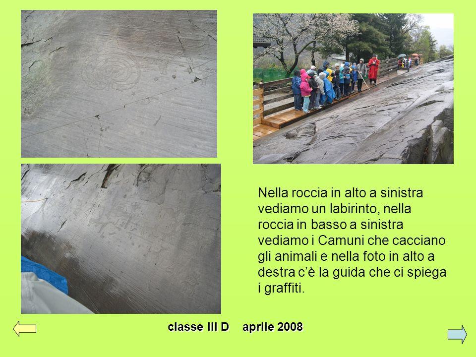 classe III D aprile 2008 Abbiamo visto questi disegni degli uomini primitivi sulle rocce trovate dai Camuni.