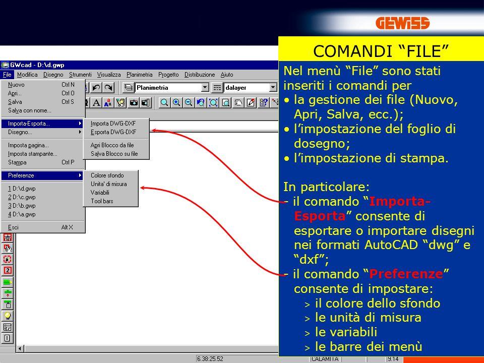 12 COMANDI FILE Nel menù File sono stati inseriti i comandi per la gestione dei file (Nuovo, Apri, Salva, ecc.); limpostazione del foglio di dosegno;