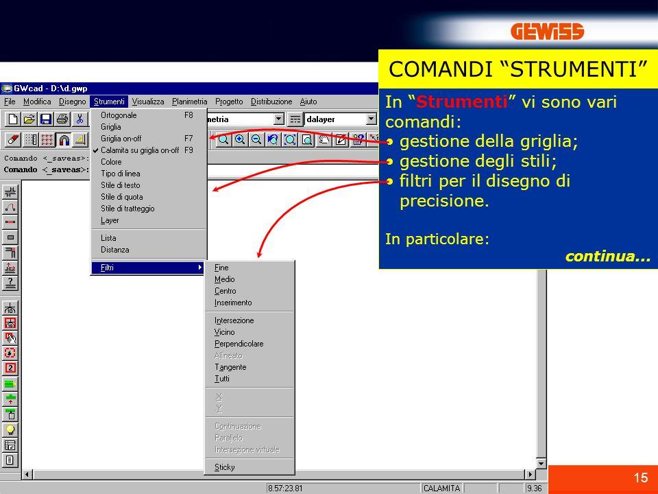 15 In Strumenti vi sono vari comandi: gestione della griglia; gestione degli stili; filtri per il disegno di precisione. In particolare: continua... C