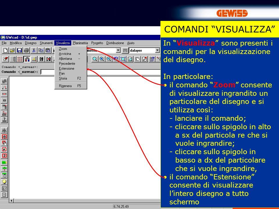 17 In Visualizza sono presenti i comandi per la visualizzazione del disegno. In particolare: il comando Zoom consente di visualizzare ingrandito un pa