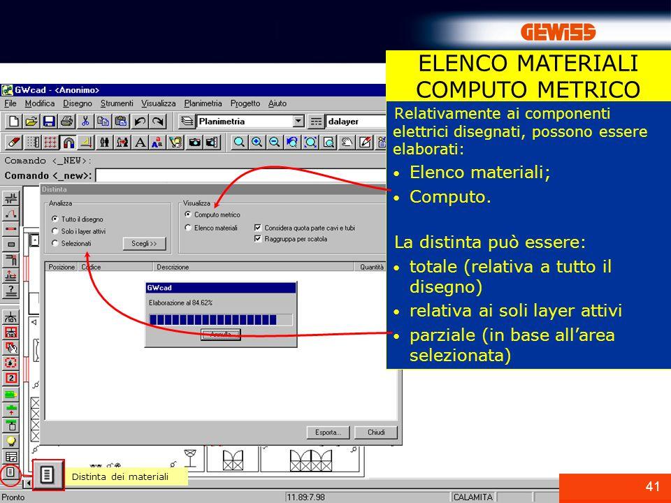 41 ELENCO MATERIALI COMPUTO METRICO Distinta dei materiali Relativamente ai componenti elettrici disegnati, possono essere elaborati: Elenco materiali