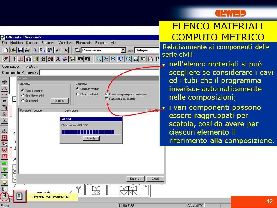 42 ELENCO MATERIALI COMPUTO METRICO Distinta dei materiali Relativamente ai componenti delle serie civili: nellelenco materiali si può scegliere se co