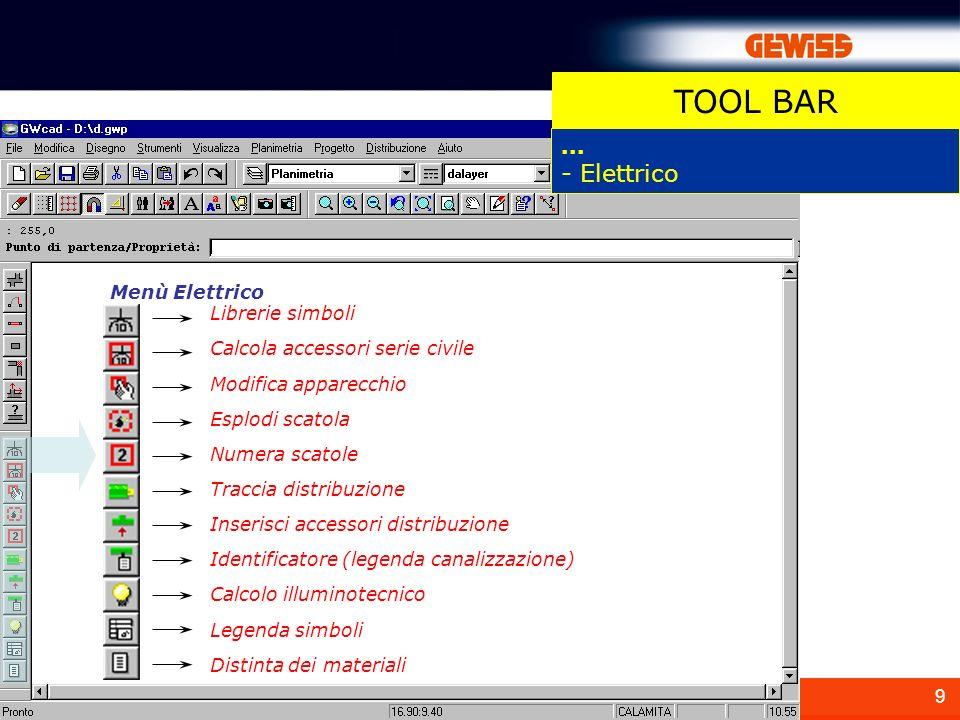 9 Menù Elettrico... - Elettrico Librerie simboli Calcola accessori serie civile Modifica apparecchio Esplodi scatola Numera scatole Traccia distribuzi