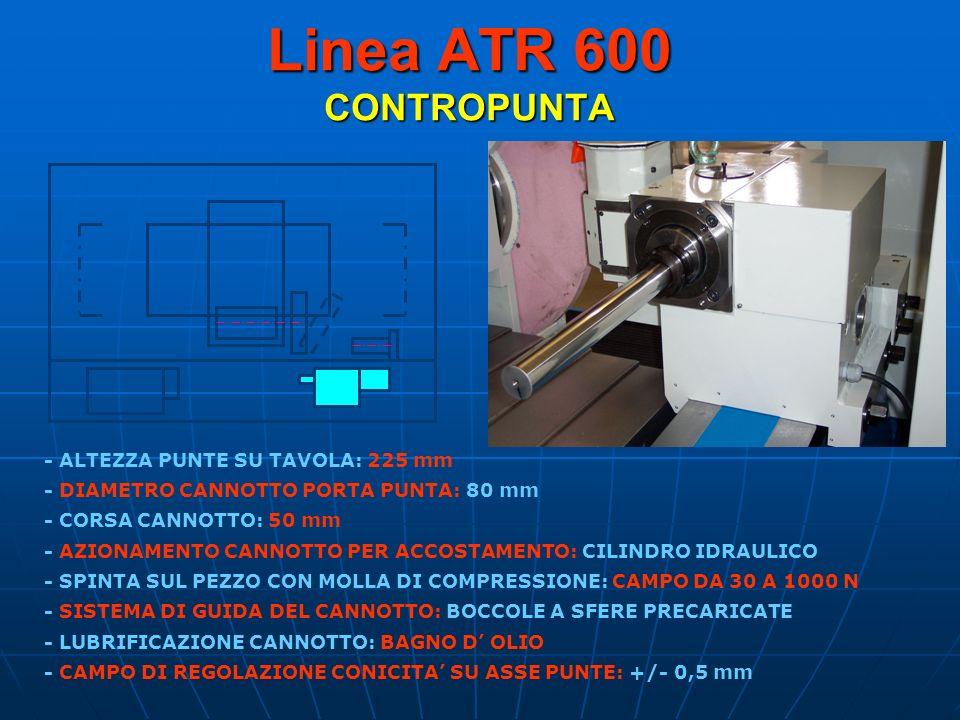 Linea ATR 600 CONTROPUNTA - ALTEZZA PUNTE SU TAVOLA: 225 mm - DIAMETRO CANNOTTO PORTA PUNTA: 80 mm - SPINTA SUL PEZZO CON MOLLA DI COMPRESSIONE: CAMPO
