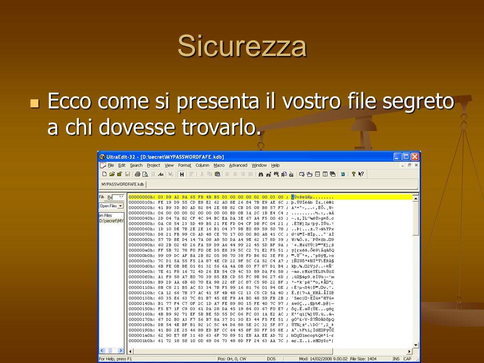 Sicurezza Ecco come si presenta il vostro file segreto a chi dovesse trovarlo. Ecco come si presenta il vostro file segreto a chi dovesse trovarlo.