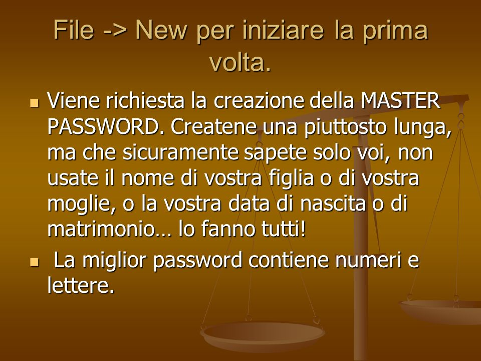 Digitate la MASTER password (attenti alle maiuscole) (attenti alle maiuscole)