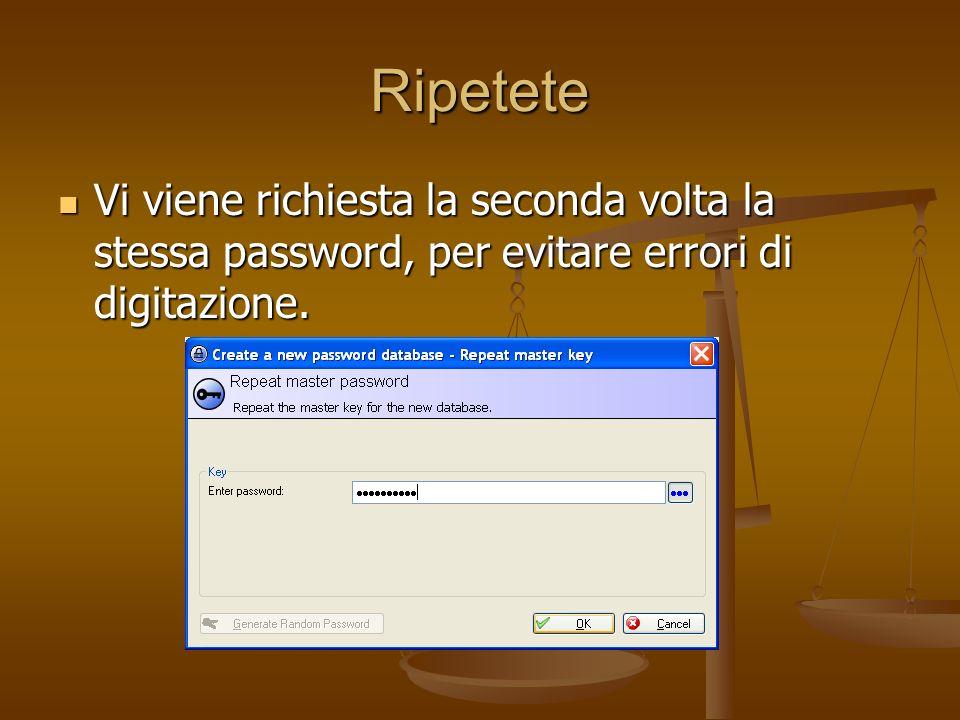 Ripetete Vi viene richiesta la seconda volta la stessa password, per evitare errori di digitazione. Vi viene richiesta la seconda volta la stessa pass