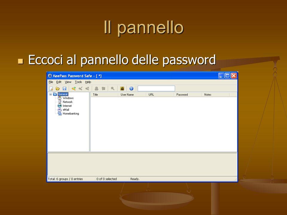 Il pannello Eccoci al pannello delle password Eccoci al pannello delle password