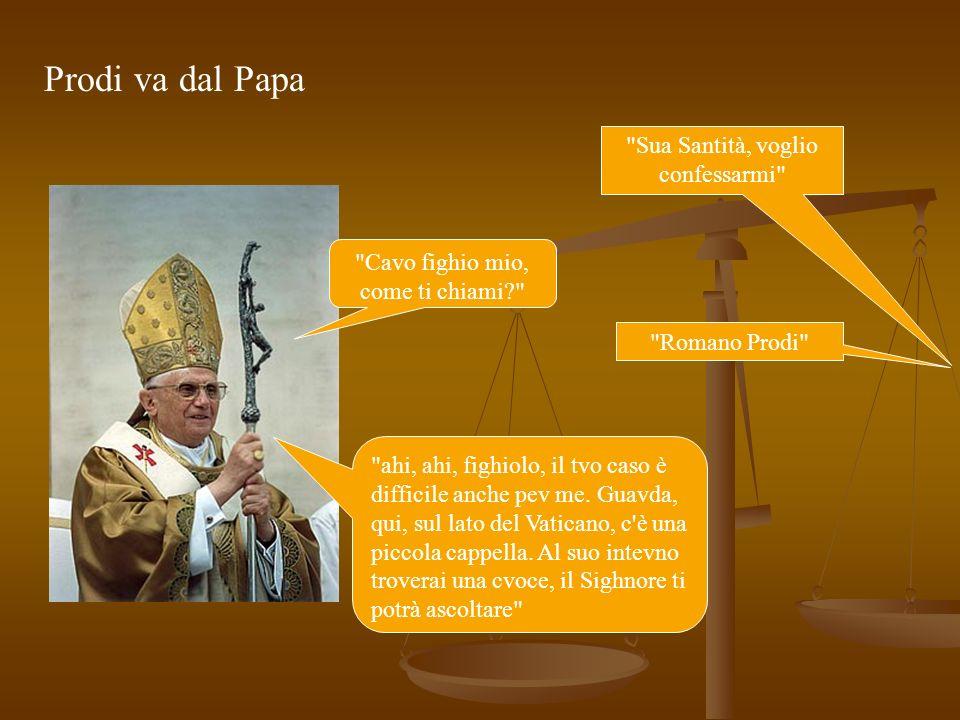 Prodi, giunto nella cappella, si rivolge alla croce: Signore, voglio confessarmi Certo figlio mio, come ti chiami? mi chiamo Romano Prodi Ma allora ti conosco figliolo… Non sei lex Presidente del IRI nominato dalla Democrazia Cristiana.