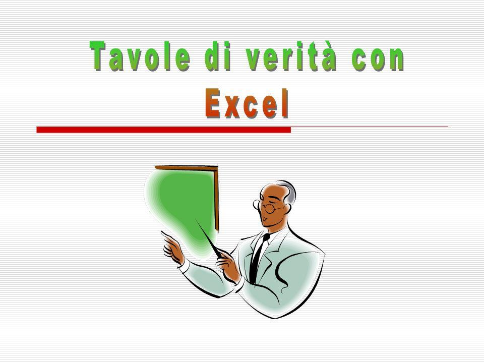 Funzioni logiche di Excel In Excel è possibile operare con le funzioni logiche Tali funzioni operano su valori di verità: VERO, FALSO Le funzioni implementate in Excel sono: la negazione (NON); la congiunzione (E); la disgiunzione inclusiva (O)