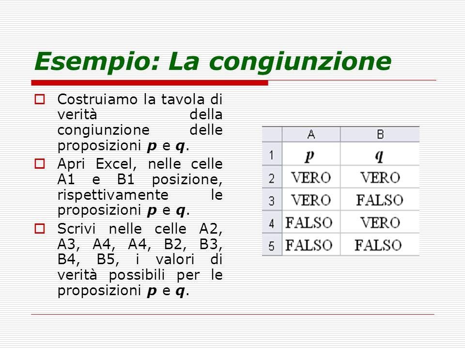 Esempio: La congiunzione Costruiamo la tavola di verità della congiunzione delle proposizioni p e q. Apri Excel, nelle celle A1 e B1 posizione, rispet