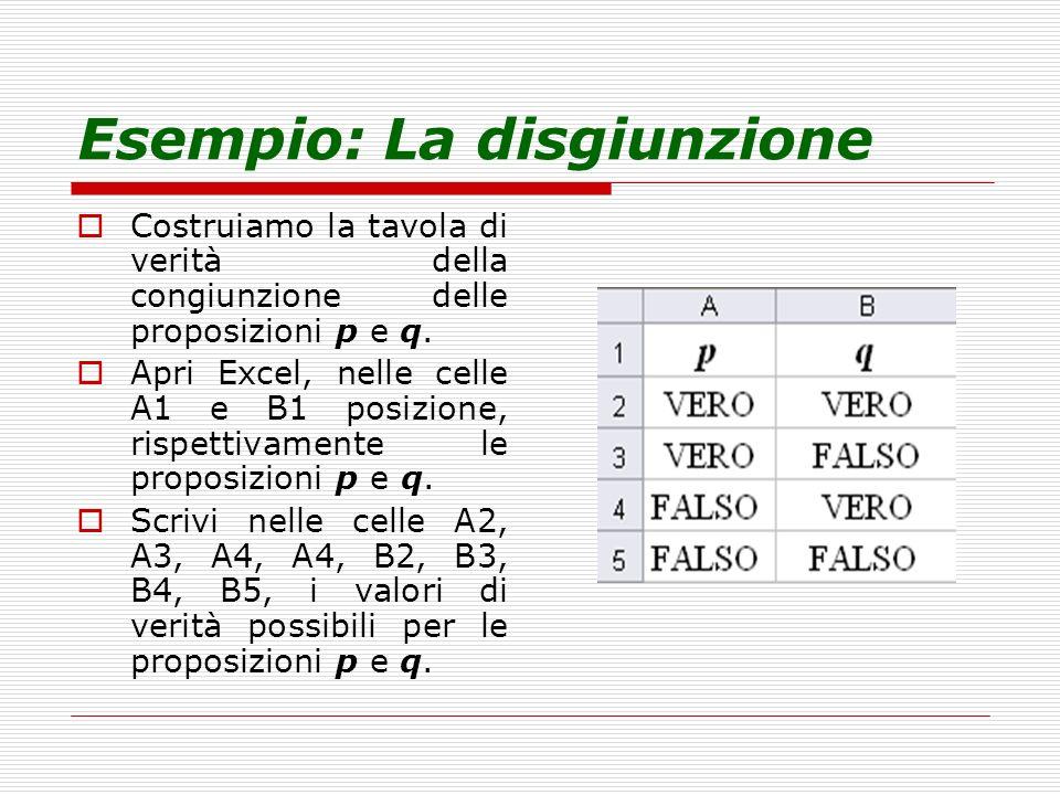 Esempio: La disgiunzione Costruiamo la tavola di verità della congiunzione delle proposizioni p e q. Apri Excel, nelle celle A1 e B1 posizione, rispet