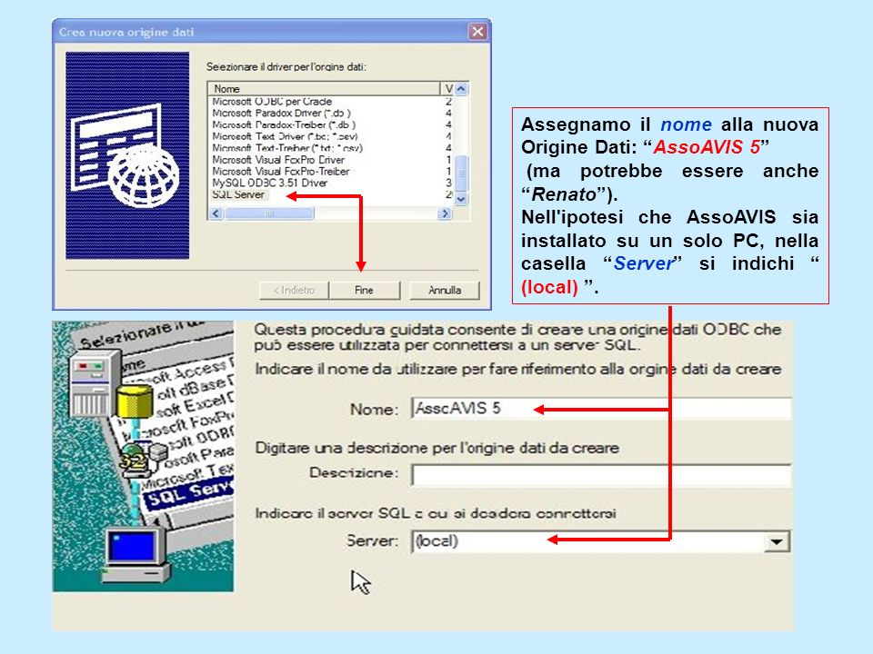 Assegnamo il nome alla nuova Origine Dati: AssoAVIS 5 (ma potrebbe essere ancheRenato). Nell'ipotesi che AssoAVIS sia installato su un solo PC, nella