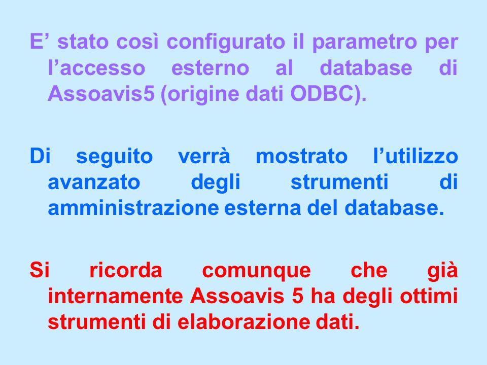 E stato così configurato il parametro per laccesso esterno al database di Assoavis5 (origine dati ODBC). Di seguito verrà mostrato lutilizzo avanzato
