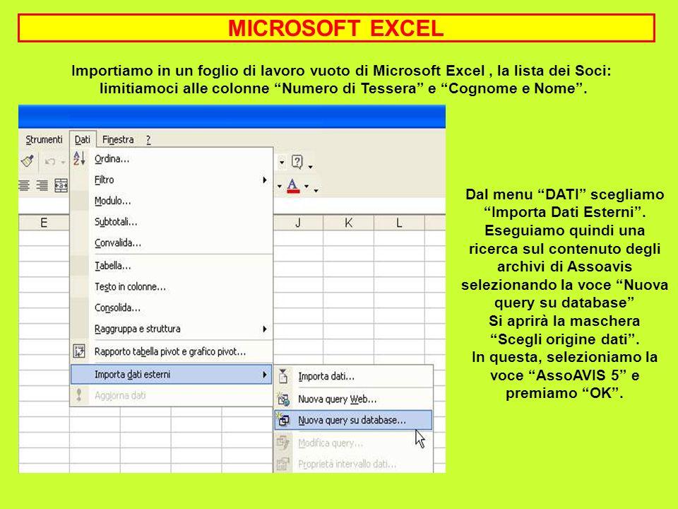 Importiamo in un foglio di lavoro vuoto di Microsoft Excel, la lista dei Soci: limitiamoci alle colonne Numero di Tessera e Cognome e Nome. Dal menu D