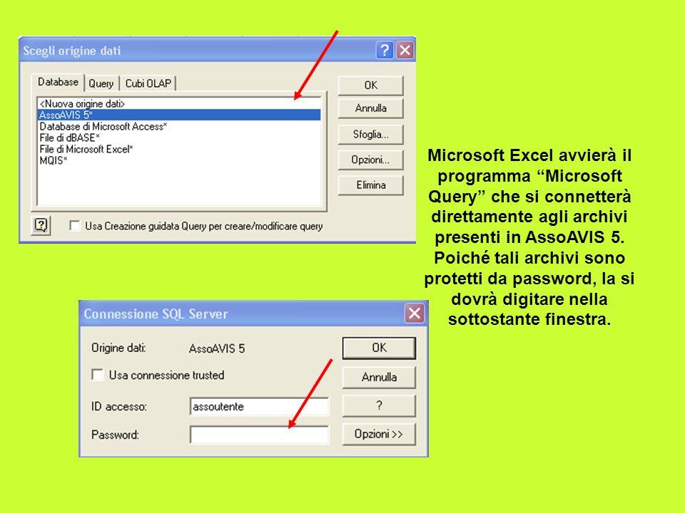 Microsoft Excel avvierà il programma Microsoft Query che si connetterà direttamente agli archivi presenti in AssoAVIS 5. Poiché tali archivi sono prot
