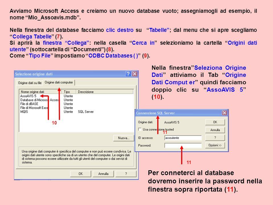 Avviamo Microsoft Access e creiamo un nuovo database vuoto; assegniamogli ad esempio, il nome Mio_Assoavis.mdb. Nella finestra del database facciamo c