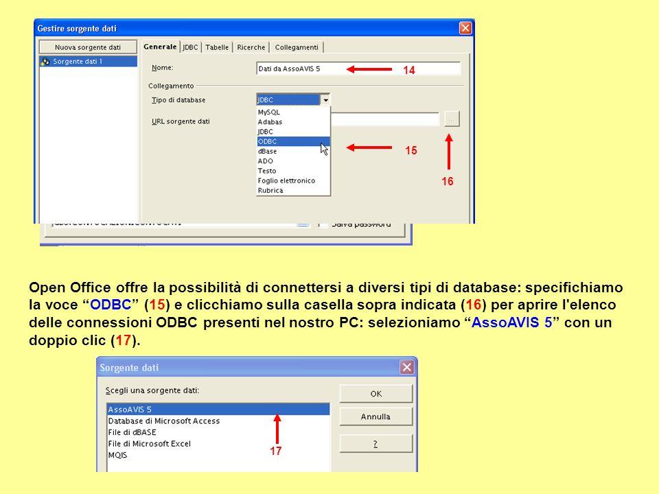 14 Open Office offre la possibilità di connettersi a diversi tipi di database: specifichiamo la voce ODBC (15) e clicchiamo sulla casella sopra indicata (16) per aprire l elenco delle connessioni ODBC presenti nel nostro PC: selezioniamo AssoAVIS 5 con un doppio clic (17).