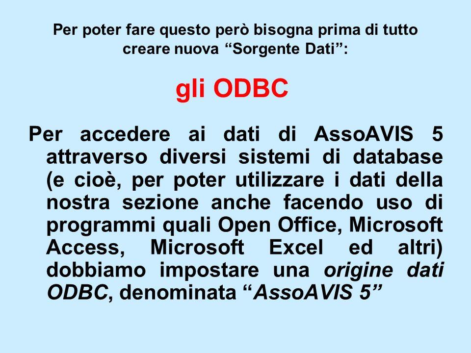 Per poter fare questo però bisogna prima di tutto creare nuova Sorgente Dati: gli ODBC Per accedere ai dati di AssoAVIS 5 attraverso diversi sistemi d