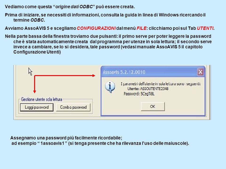 Chiudiamo AssoAVIS 5 ed apriamo il Pannello di Controllo di Windows: facciamo doppio clic su Strumenti di Amministrazione e scegliamo Origine Dati (ODBC) Clicchiamo DSN utente quindi su Aggiungi.