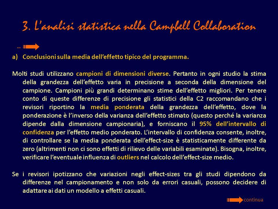 3. Lanalisi statistica nella Campbell Collaboration a)Conclusioni sulla media delleffetto tipico del programma. Molti studi utilizzano campioni di dim