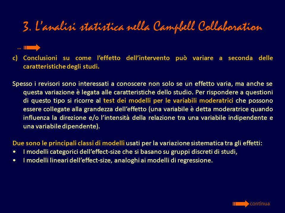 3. Lanalisi statistica nella Campbell Collaboration c)Conclusioni su come leffetto dellintervento può variare a seconda delle caratteristiche degli st