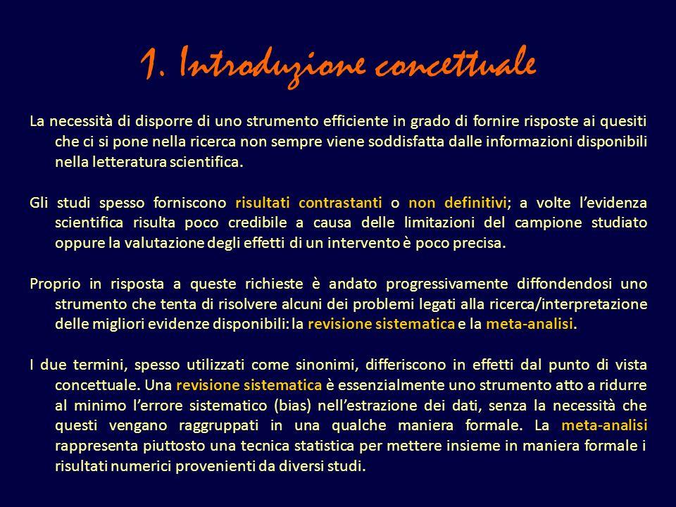 1. Introduzione concettuale La necessità di disporre di uno strumento efficiente in grado di fornire risposte ai quesiti che ci si pone nella ricerca