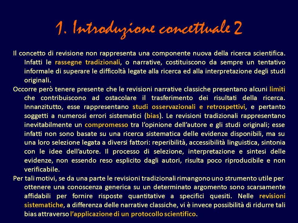 1. Introduzione concettuale 2 Il concetto di revisione non rappresenta una componente nuova della ricerca scientifica. Infatti le rassegne tradizional
