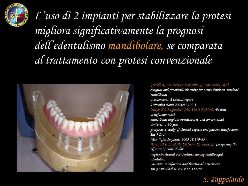 Luso di 2 impianti per stabilizzare la protesi migliora significativamente la prognosi delledentulismo mandibolare, se comparata al trattamento con protesi convenzionale Cornell K.