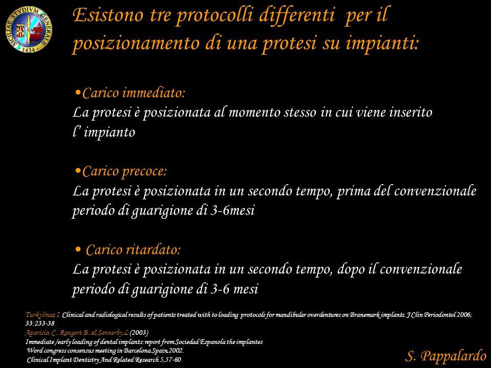 Esistono tre protocolli differenti per il posizionamento di una protesi su impianti: Carico immediato: La protesi è posizionata al momento stesso in c