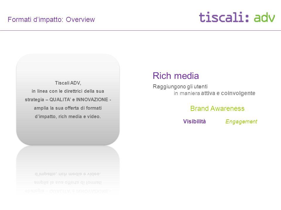 Formati dimpatto: Overview Tiscali - formati dimpatto - Rich media Raggiungono gli utenti Engagement Brand Awareness in maniera attiva e coinvolgente Visibilità