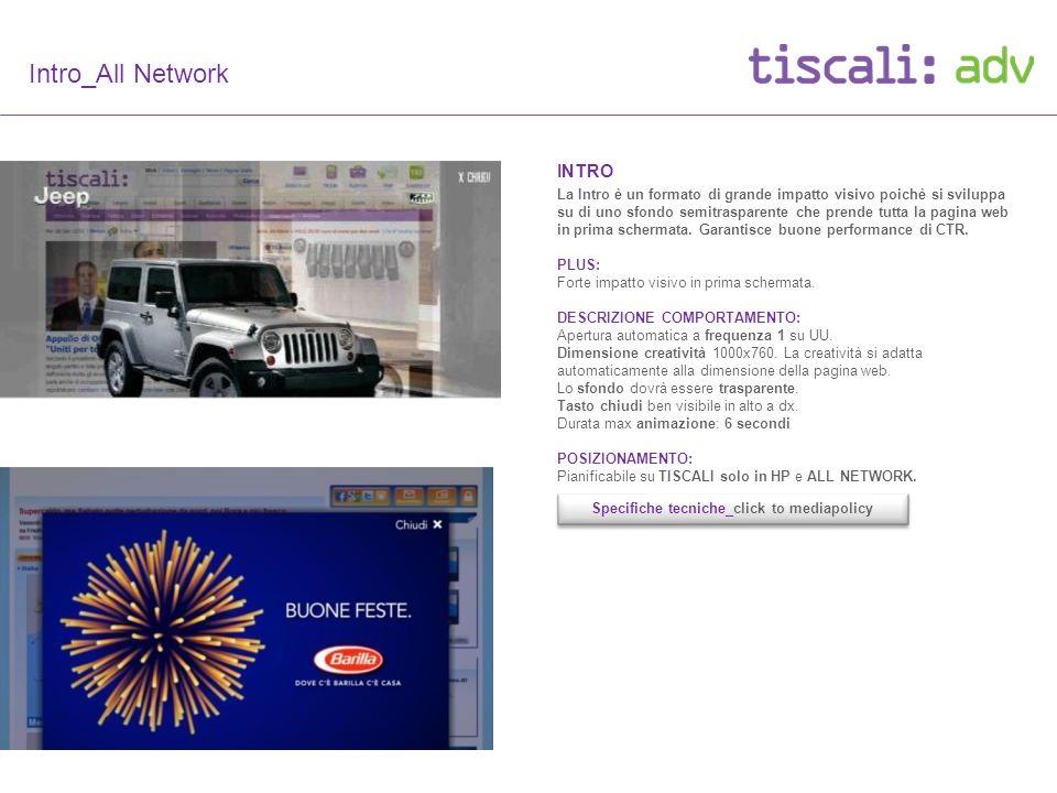 Intro_All Network INTRO La Intro è un formato di grande impatto visivo poichè si sviluppa su di uno sfondo semitrasparente che prende tutta la pagina