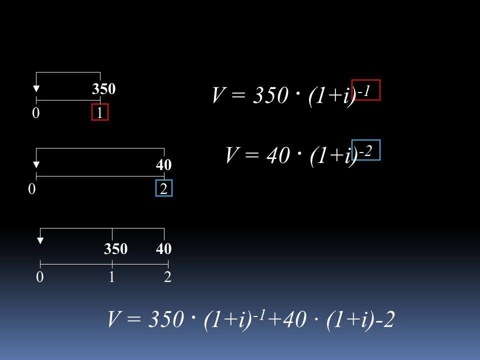 01 350 02 40 350 102 V = 350 · (1+i) -1 V = 40 · (1+i) -2 V = 350 · (1+i) -1 +40 · (1+i)-2