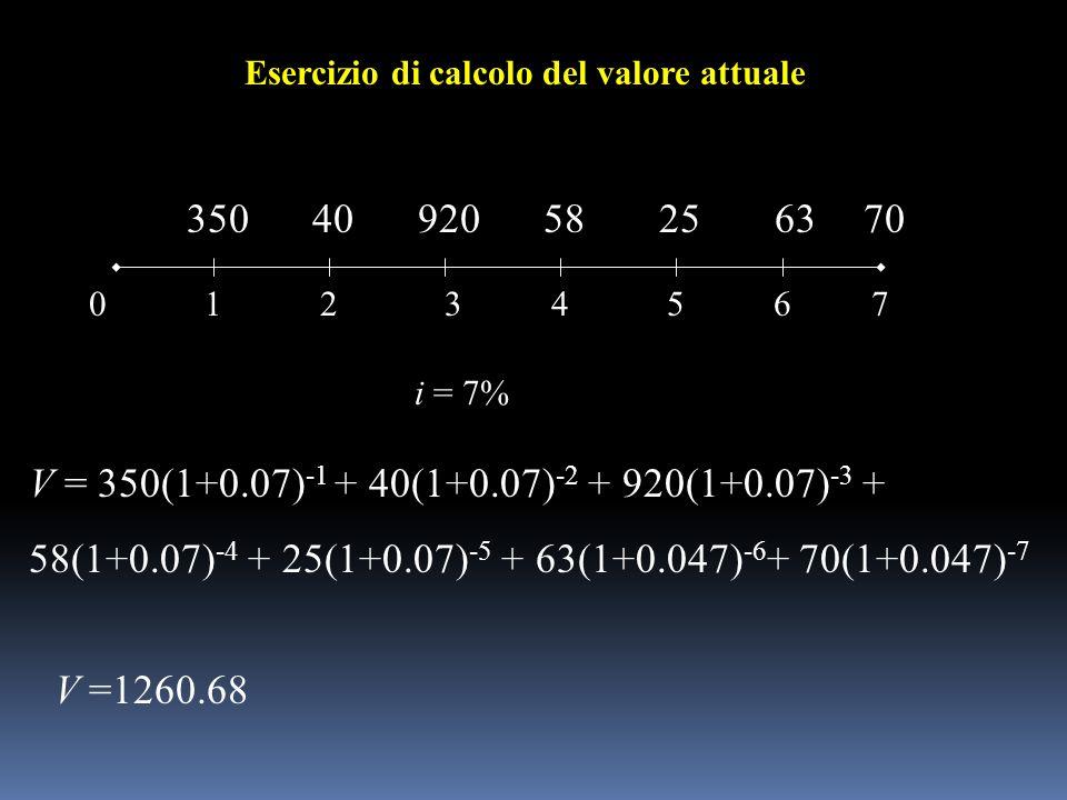 012 35040920 3645 582563 i = 7% 7 70 V =1260.68 Esercizio di calcolo del valore attuale V = 350(1+0.07) -1 + 40(1+0.07) -2 + 920(1+0.07) -3 + 58(1+0.0