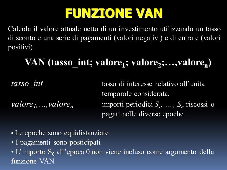 VAN (tasso_int; valore 1 ; valore 2 ;…,valore n ) tasso_int tasso di interesse relativo allunità temporale considerata, valore 1,…,valore n importi pe