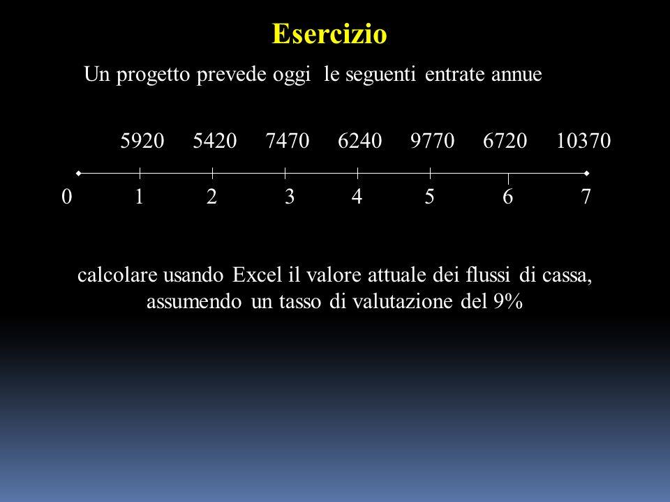 Un progetto prevede oggi le seguenti entrate annue 012 592054207470 3645 624097706720 7 calcolare usando Excel il valore attuale dei flussi di cassa,