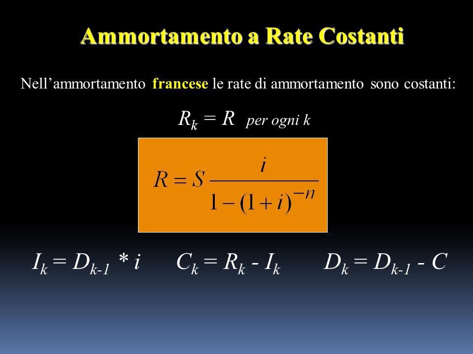Nellammortamento francese le rate di ammortamento sono costanti: R k = R per ogni k Ammortamento a Rate Costanti I k = D k-1 * iC k = R k - I k D k =