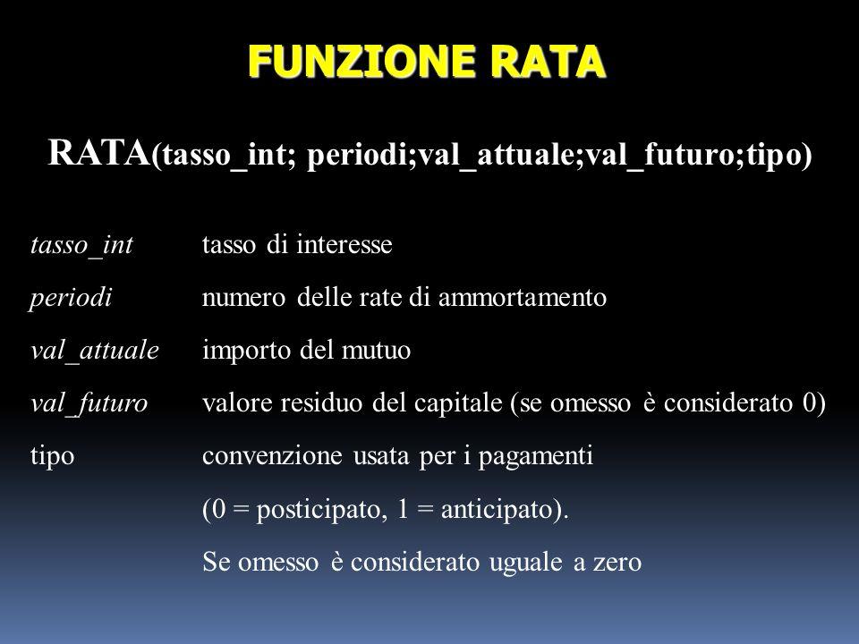 RATA (tasso_int; periodi;val_attuale;val_futuro;tipo) FUNZIONE RATA tasso_inttasso di interesse periodinumero delle rate di ammortamento val_attualeim
