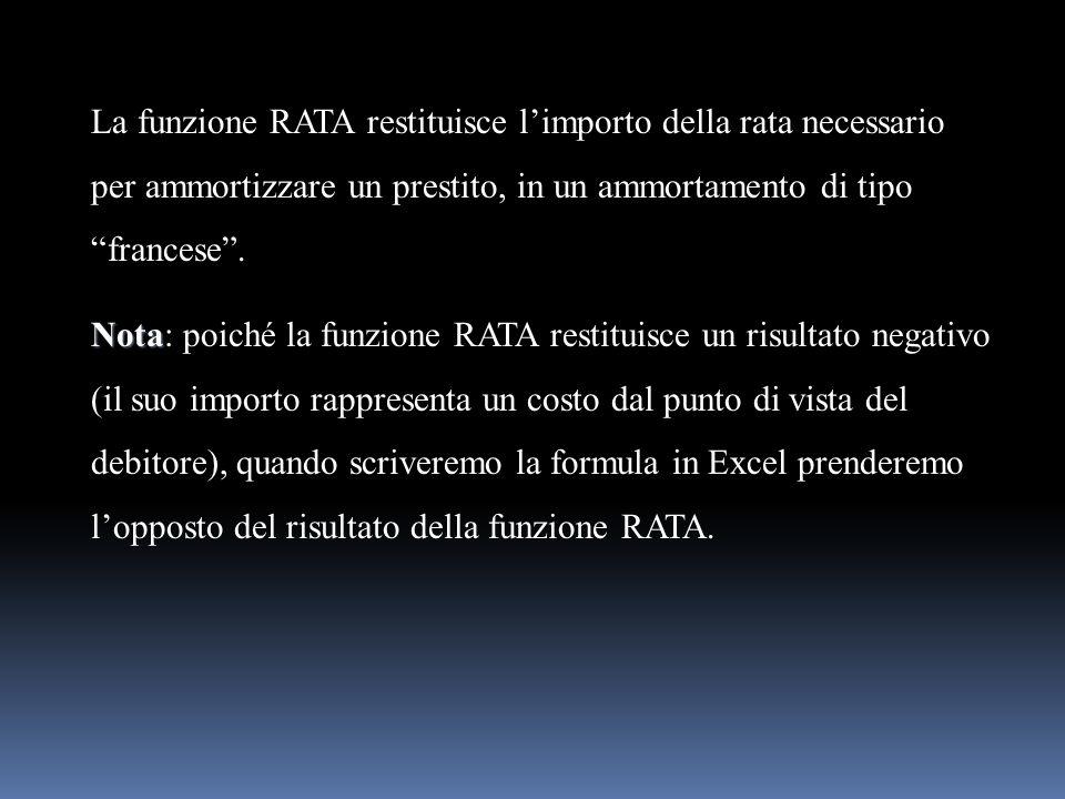 La funzione RATA restituisce limporto della rata necessario per ammortizzare un prestito, in un ammortamento di tipo francese. Nota Nota: poiché la fu