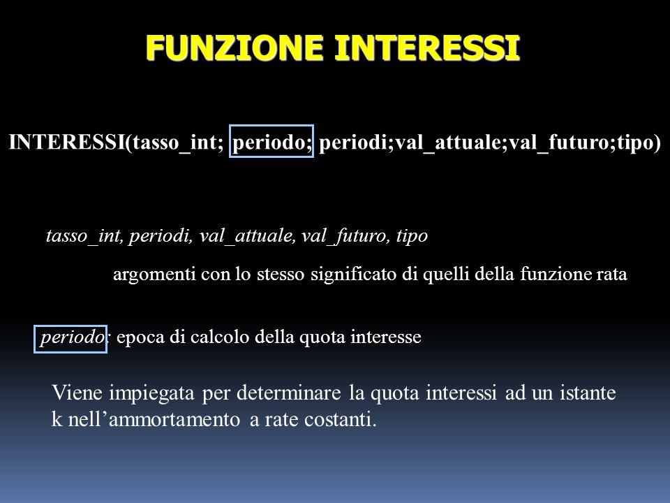 INTERESSI(tasso_int; periodo; periodi;val_attuale;val_futuro;tipo) FUNZIONE INTERESSI tasso_int, periodi, val_attuale, val_futuro, tipo argomenti con