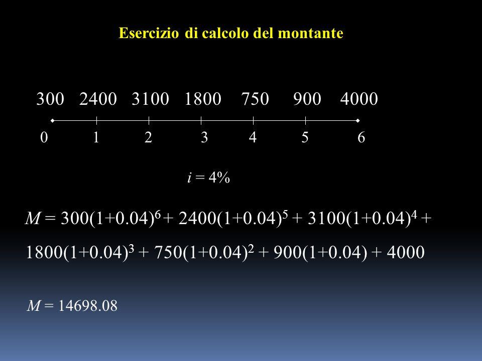 012 240031001800 36 Esercizio di calcolo del montante 45 7509004000300 i = 4% M = 14698.08 M = 300(1+0.04) 6 + 2400(1+0.04) 5 + 3100(1+0.04) 4 + 1800(