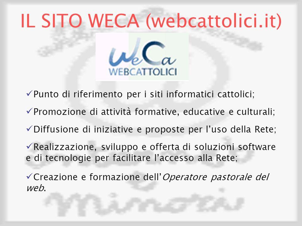 IL SITO WECA (webcattolici.it) Punto di riferimento per i siti informatici cattolici; Promozione di attività formative, educative e culturali; Diffusione di iniziative e proposte per luso della Rete; Realizzazione, sviluppo e offerta di soluzioni software e di tecnologie per facilitare laccesso alla Rete; Creazione e formazione dellOperatore pastorale del web.