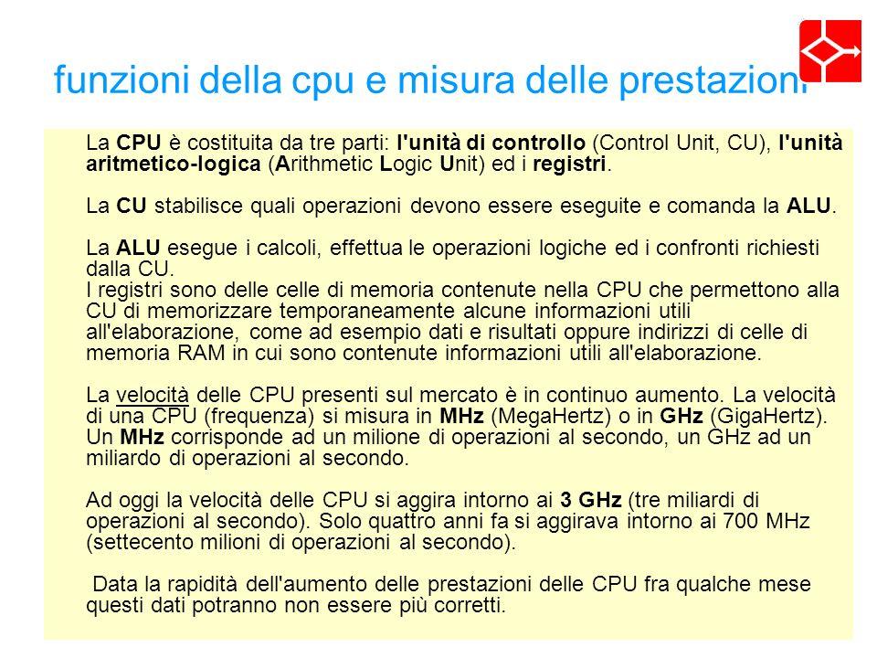 funzioni della cpu e misura delle prestazioni La CPU è costituita da tre parti: l unità di controllo (Control Unit, CU), l unità aritmetico-logica (Arithmetic Logic Unit) ed i registri.