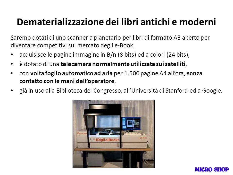 Dematerializzazione dei libri antichi e moderni Saremo dotati di uno scanner a planetario per libri di formato A3 aperto per diventare competitivi sul