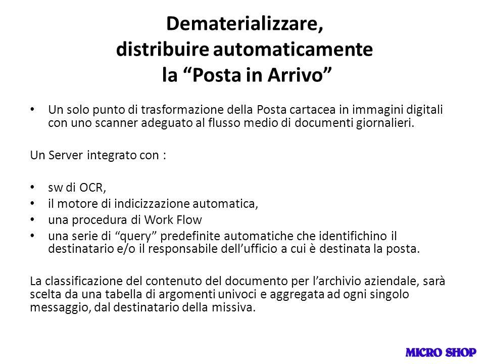 Dematerializzare, distribuire automaticamente la Posta in Arrivo Un solo punto di trasformazione della Posta cartacea in immagini digitali con uno sca
